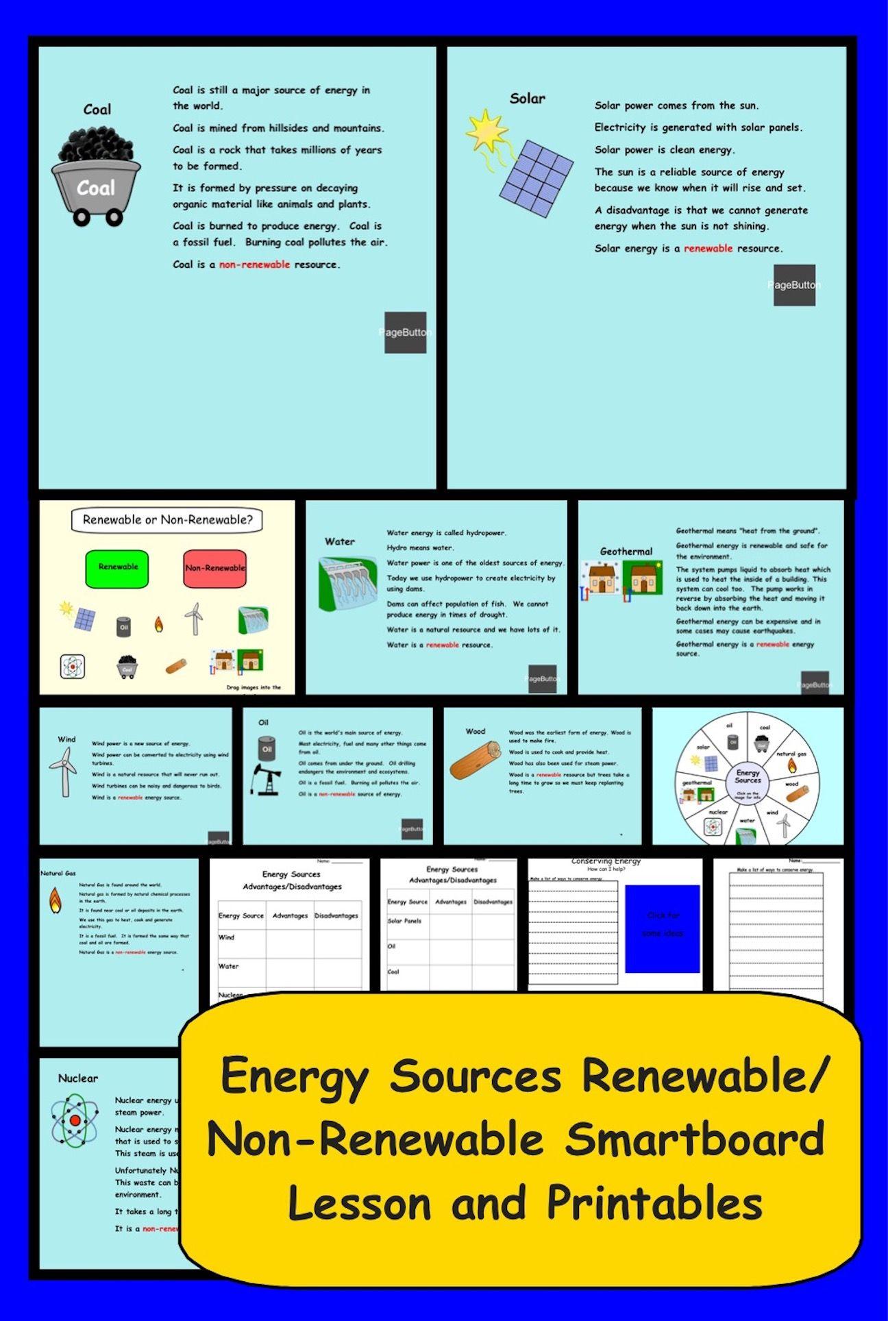 Energy Sources Renewable Non Renewable Smartboard Lesson