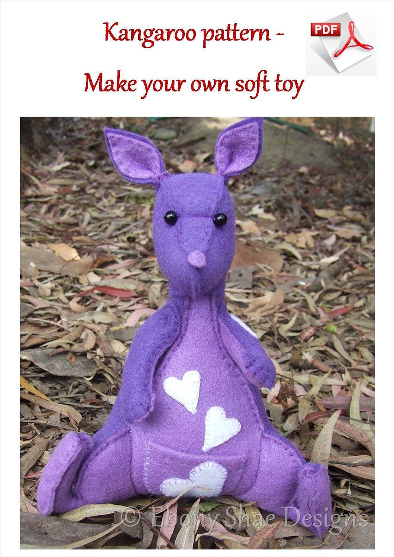 Kangaroo soft toy sewing pattern knitting pinterest kangaroo soft toy sewing pattern jeuxipadfo Choice Image