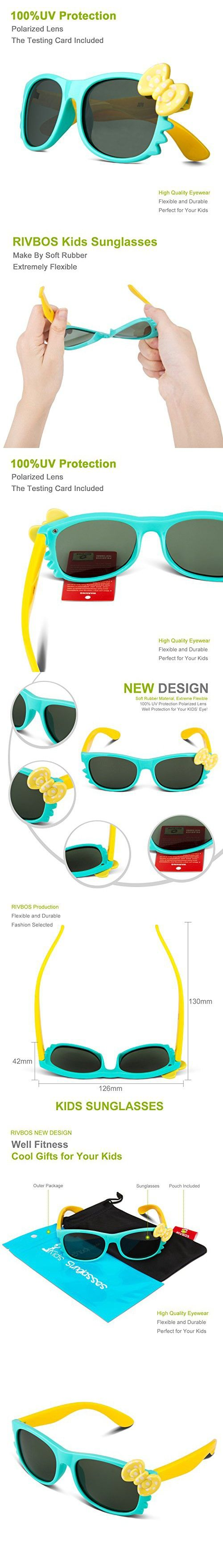 e6eaeefeaa6 RIVBOS RBK002 Rubber Flexible Kids Polarized Sunglasses Age 3-10 (Blue)