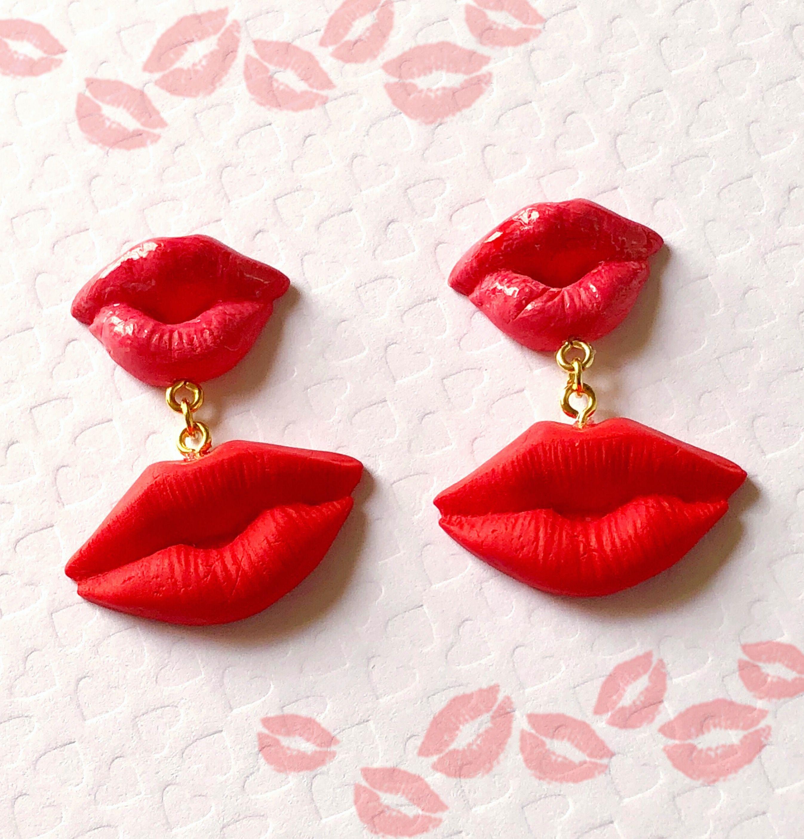 Red Lips Earrings Kiss Me Earrings Lip Jewelry Red Lips Etsy