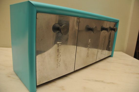Vintage Turquoise Emco Metal Kitchen Canister Set By Whitepicket