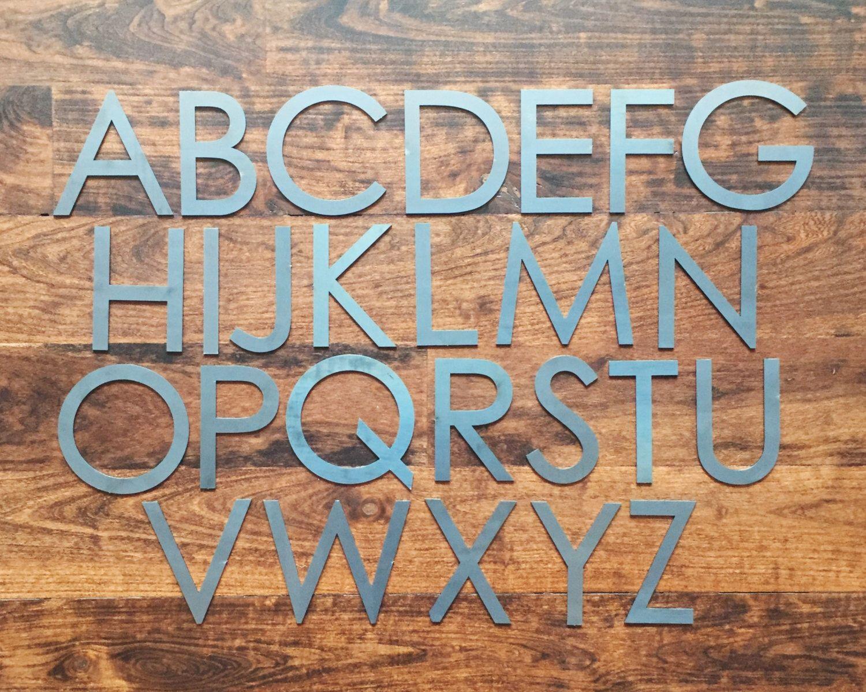 """Modern Metal Letters Modern 4"""" Capital  Laser Cut Metal Letters  Laser Cut Metal"""
