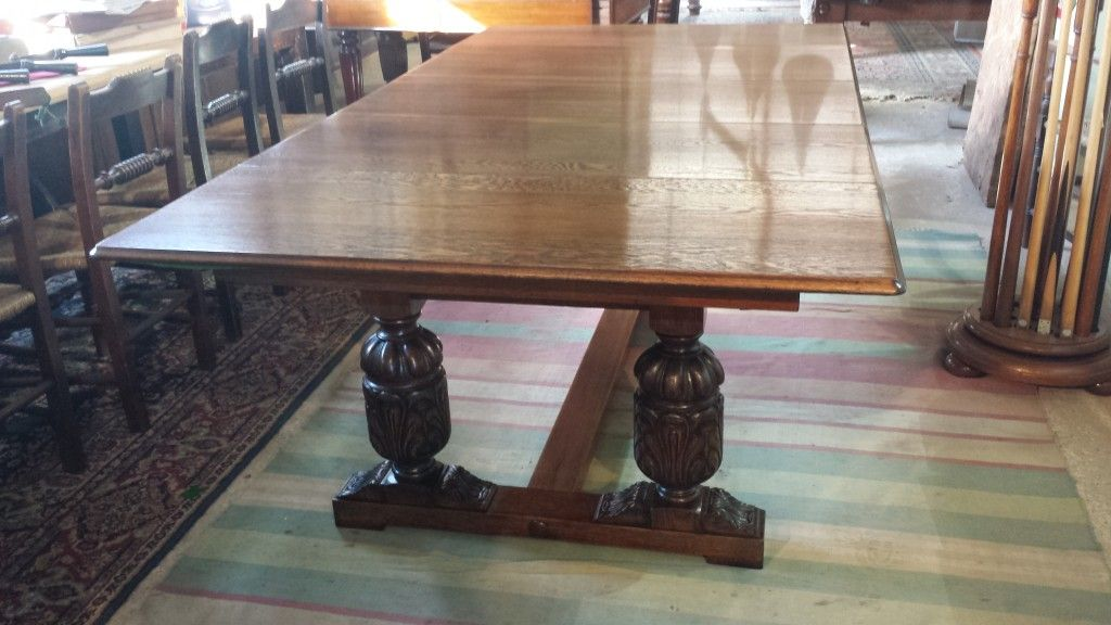 Riley Antique Snooker Dining Table 7ft In Oak Refectory Style