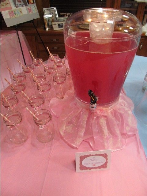 Babyshower · Tutu Pink Lemonade With Mason Jar Decorated With Tutus!