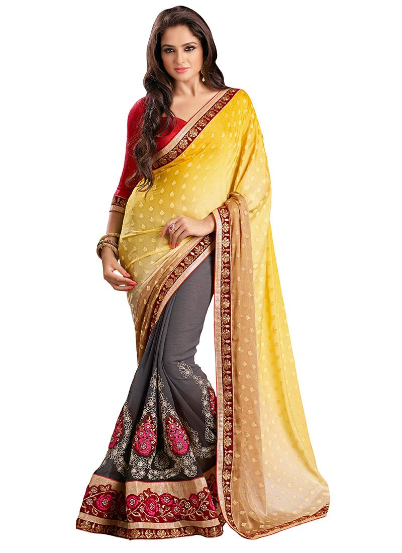 Off saree model images grey n yellow half n half saree  saree  pinterest  half saree