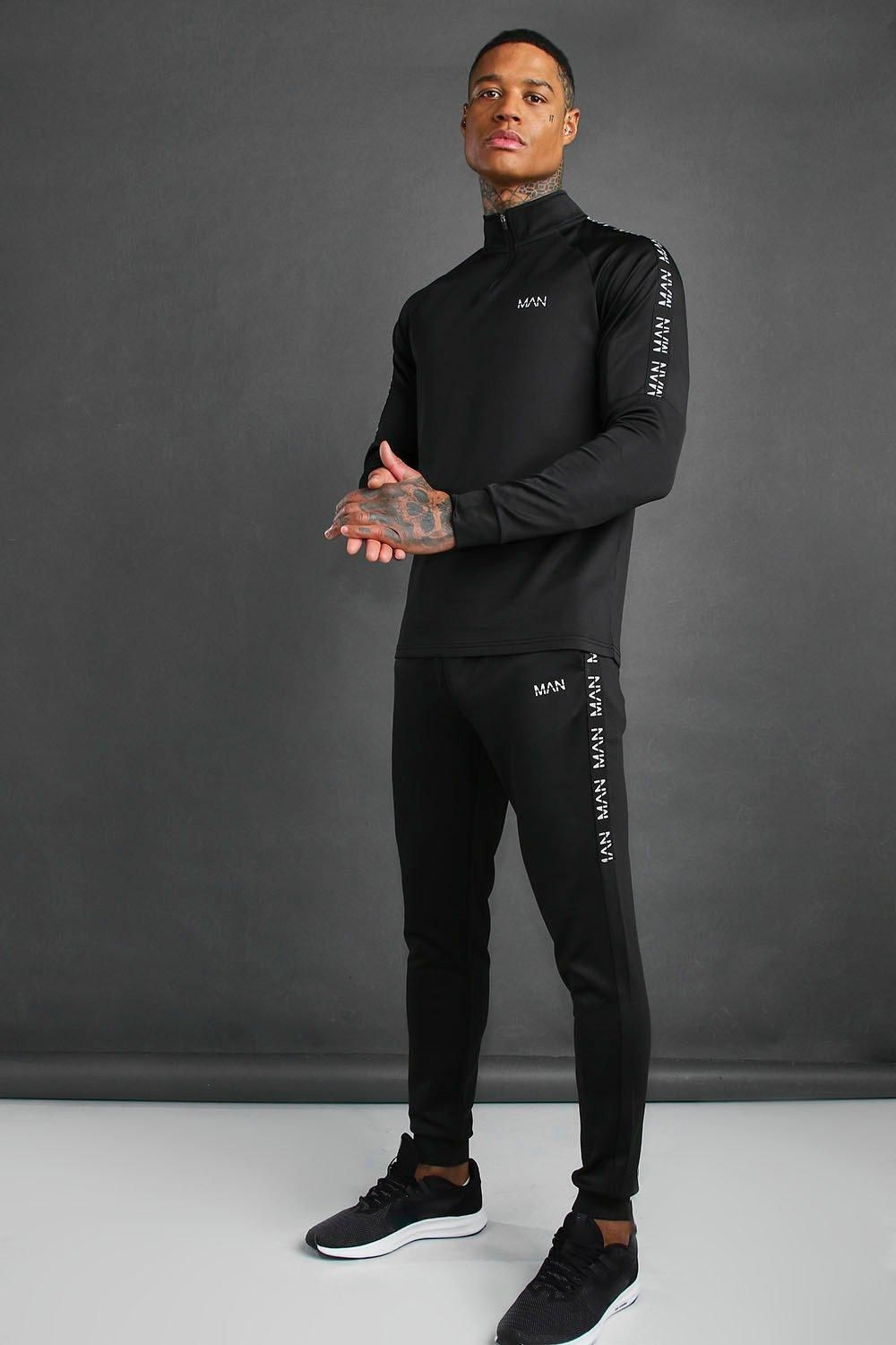 MAN Active Skinny Fit Tracksuit With Tape Detail | boohoo | Sports fashion  men, Mens gym fashion, Mens activewear fashion