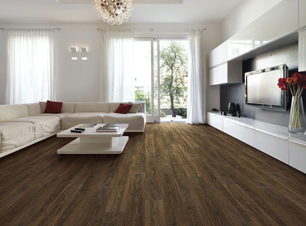 rustic living room tile floor designs | Smoked rustic pine in 2019 | Wood look tile, Engineered ...