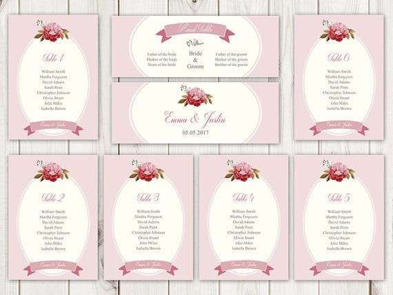 Printable seating chart template French Peony in dusty pink color - color chart template