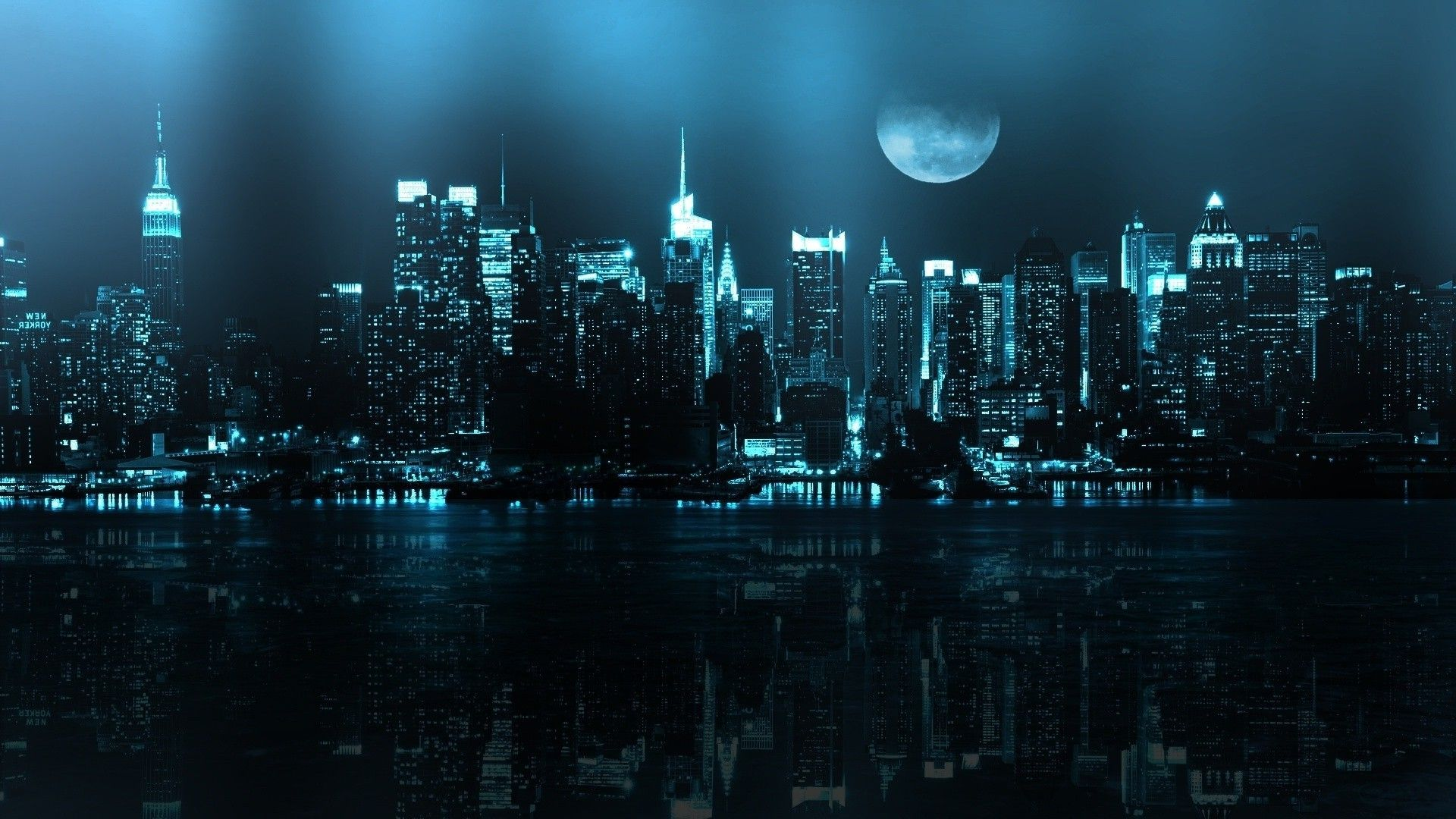 Blue Moon Night Cityscape Wallpaper Cool Desktop Backgrounds City Wallpaper