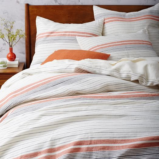 sizes: king duvet set, twin duvet set, queen duvet set Give your bedroom a stylish update with the Rugged Stripes Duvet Cover Set. Decked out in a stripe pattern in an array of fashionable colors, the classic is instantly brings a refreshing feel to your guest or master bedroom.
