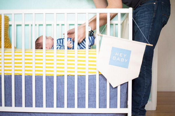 DIY Painted Chambray Banner for the baby crib!
