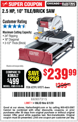 Chicago Electric 2 5 Hp 10 In Tile Brick Saw For 239 99 In 2020 Brick Saw Harbor Freight Tools Brick