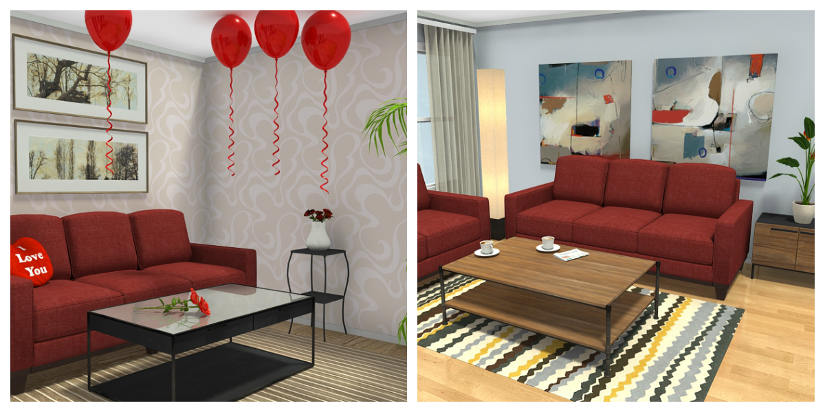 Balloons Or Coffee 3d Floor Plans Featuring Valentine Decor Items And Abstract Art Decor Items