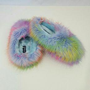 SOLD Rainbow fuzzy kawaii soft bedroom slippers | Bedroom slippers ...