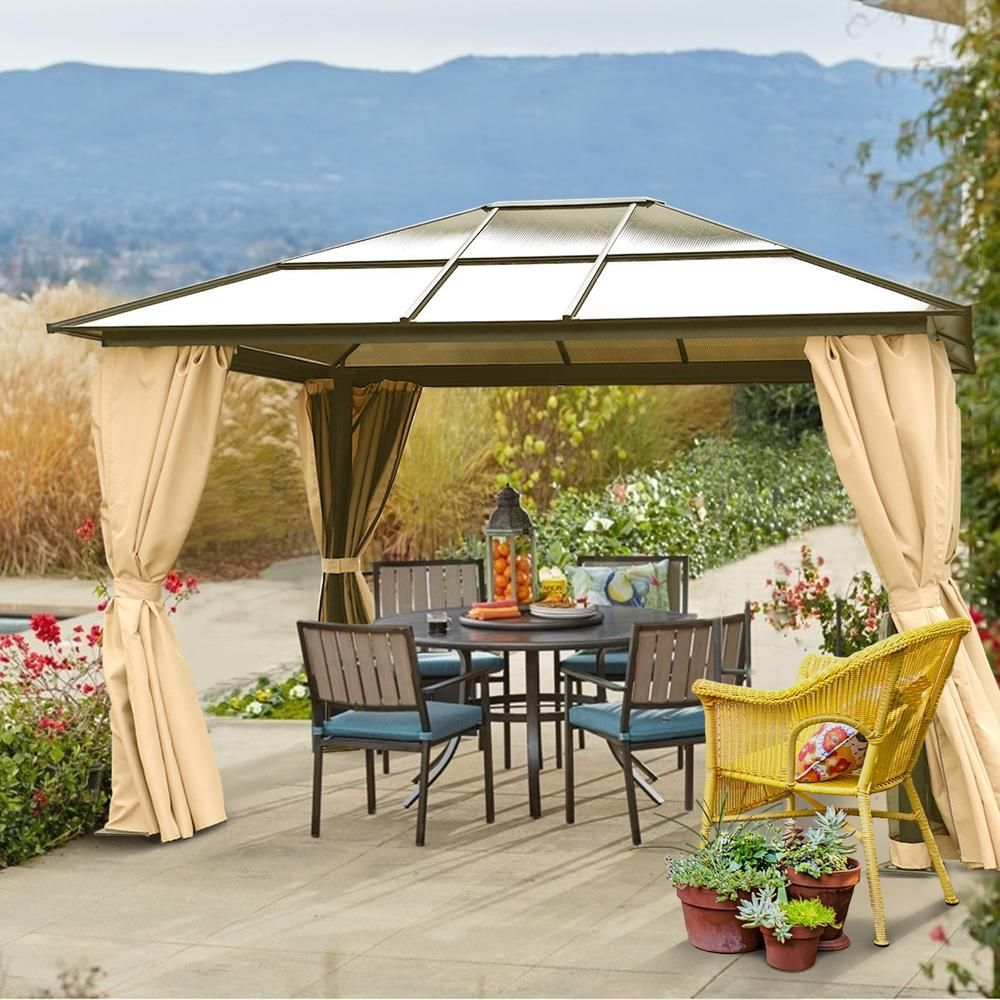 Xtremepowerus 96162 10 X 12 Hard Roof Patio Gazebo Aluminum Poles Heavy Duty Structure Home Nevada 2017 Patio Gazebo Portable Gazebo Patio