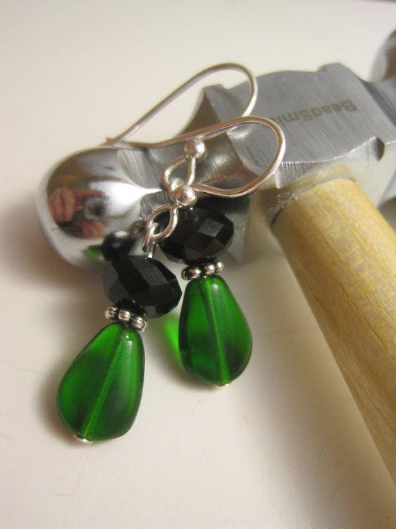 Emerald Green Glass Bead with Black Swarovski by Sparkleandswirl