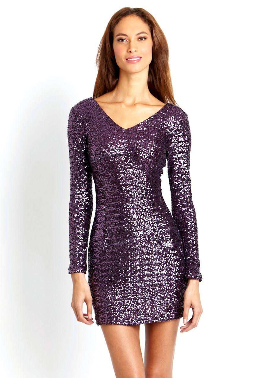 ARK & CO. Long Sleeve Sequin V-Neck Dress | LOOKITTHEPRETTY Clothes ...