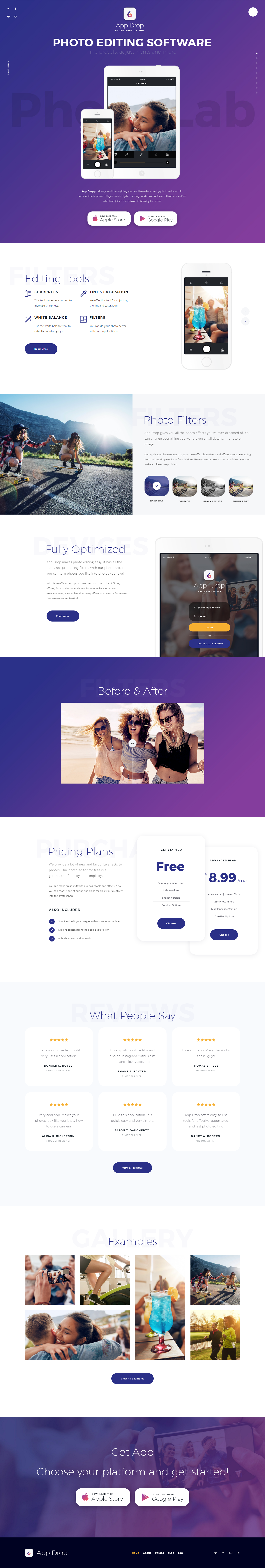Stylish And Powerfull Wordpress Theme With A Design Created For Online Photo Editor Photo Editing Software Or Photo Editing Application