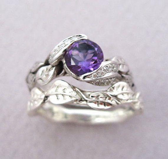 Amethyst Leaf Ring Wedding Set Leaf Ring Amethyst Engagement Set