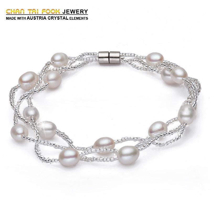 natural freshwater pearl bracelet 925 sterling silver bracelets & bangles jewelry for women