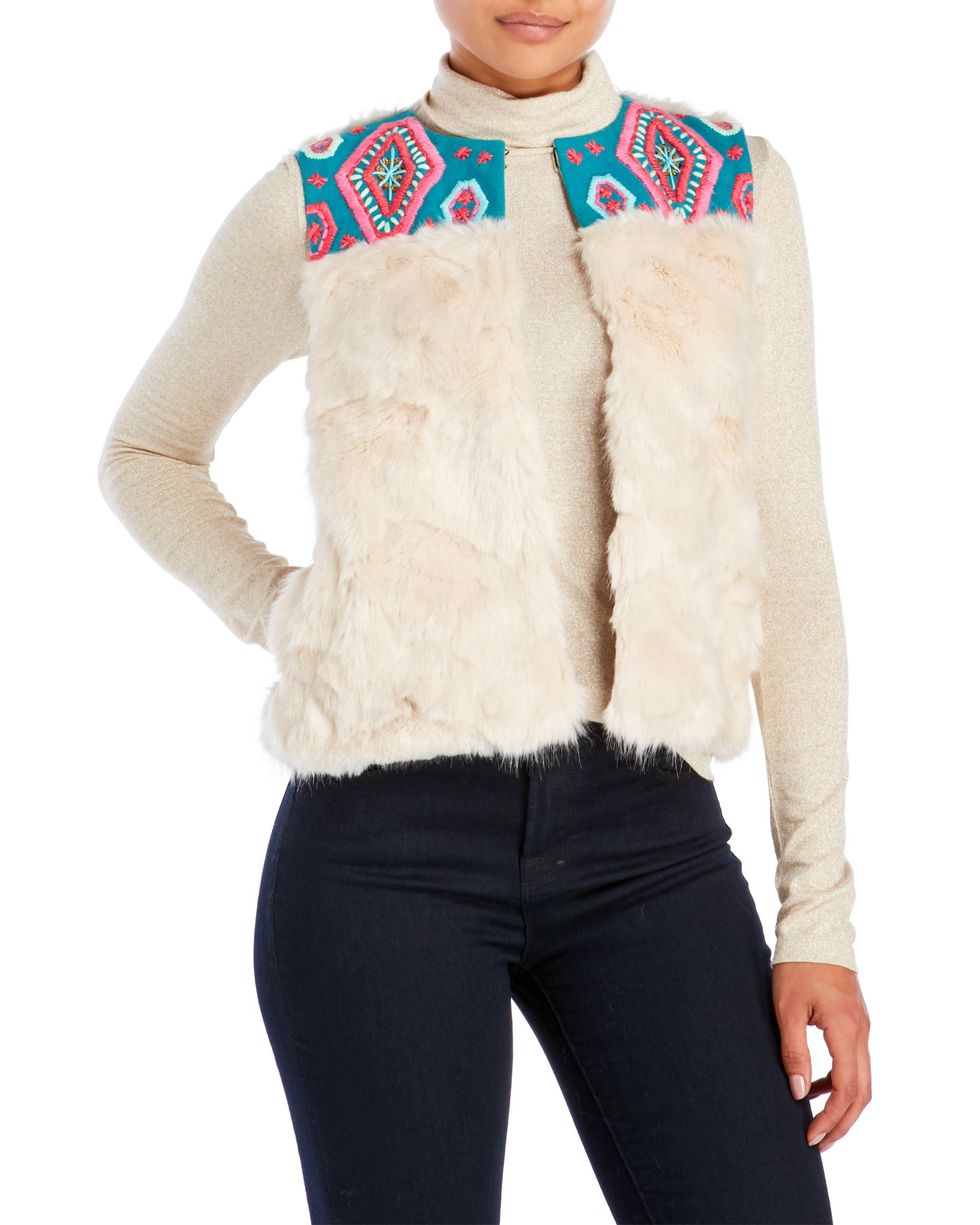 Alphamoment Embroidered Accessories Faux Fur Vestapparelamp; FulcT3JK1
