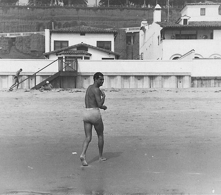 """""""Rare paparazzi snap of Cary Grant at his beach front estate, c. mid to late 1930s. """" """""""