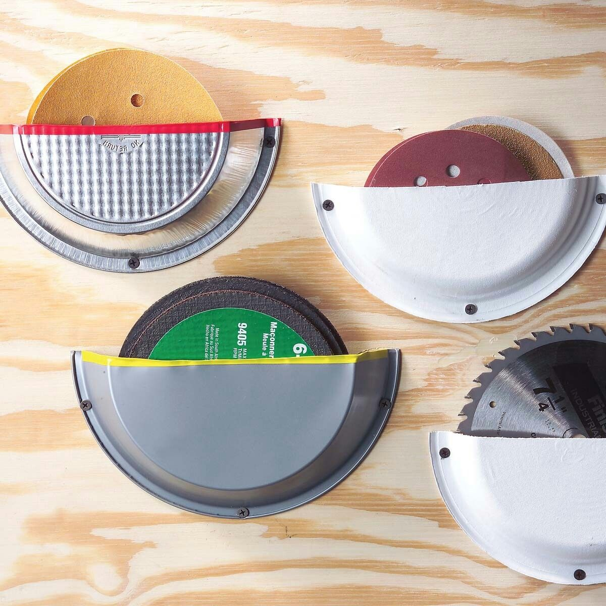 Pie Plate Storage Pockets Screw cut-in-half pie tins and heavy-duty paper plates to a shop wall and you\u0027ve got space-saving storage for the sanding discs ... & Pie Plate Storage Pockets Screw cut-in-half pie tins and heavy-duty ...