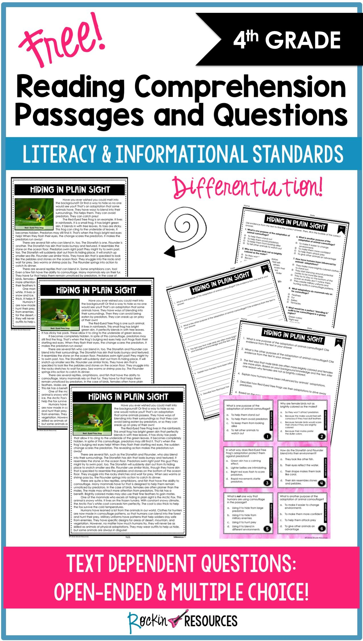 - Reading Comprehension Passages And Questions Free For Inference