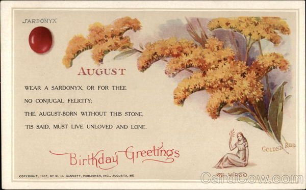 August Birthday Greetings, With Sardonyx, Virgo Sign, And Goldenrod Wear Au2026