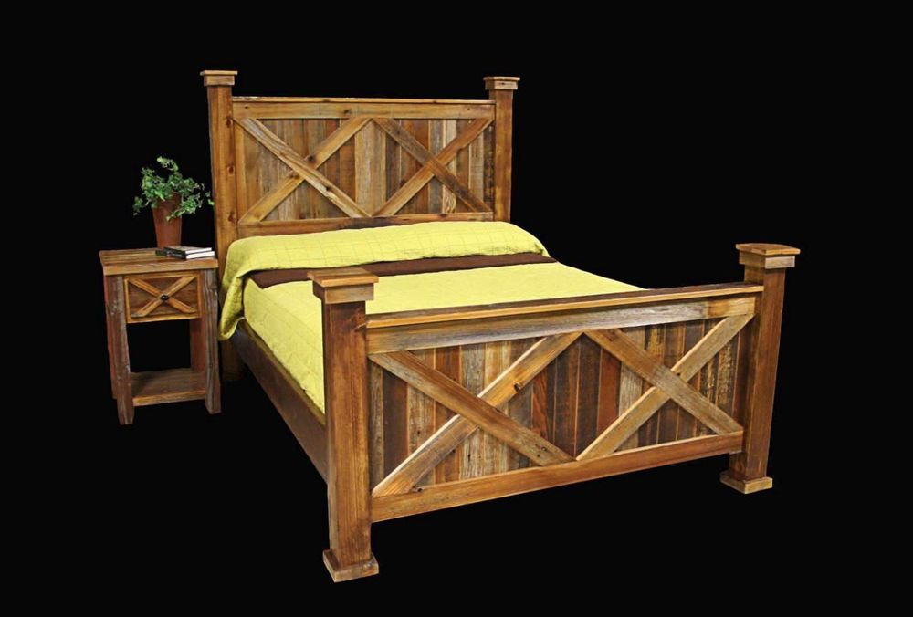 Bed Frame Nightstand Country Rustic Cabin Log Wood Bedroom