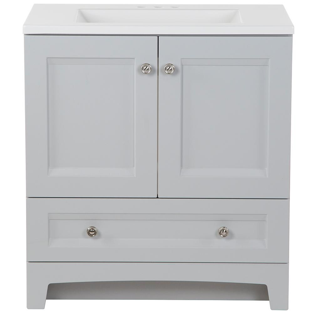 Glacier Bay Delridge 30 In W X 19 In D Bath Vanity In Pearl Gray With Cultured Marble Vanity Top In White With White Sink Dr30p2 Pg The Home Depot Cultured Marble Vanity Top Marble Vanity Tops White Sink 19 inch bathroom vanity