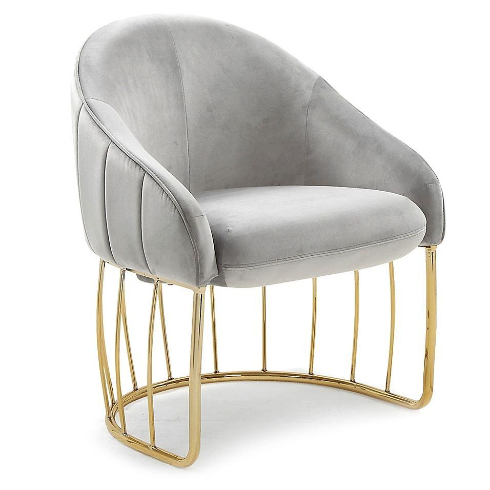 Chic home velvet upholstered hammerstein chair in grey