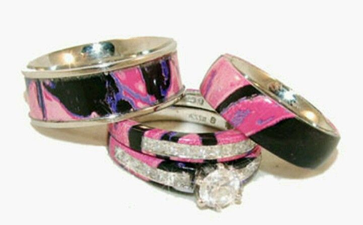 Pink Camo Wedding Bands Bridal Set 3 So In Love With These