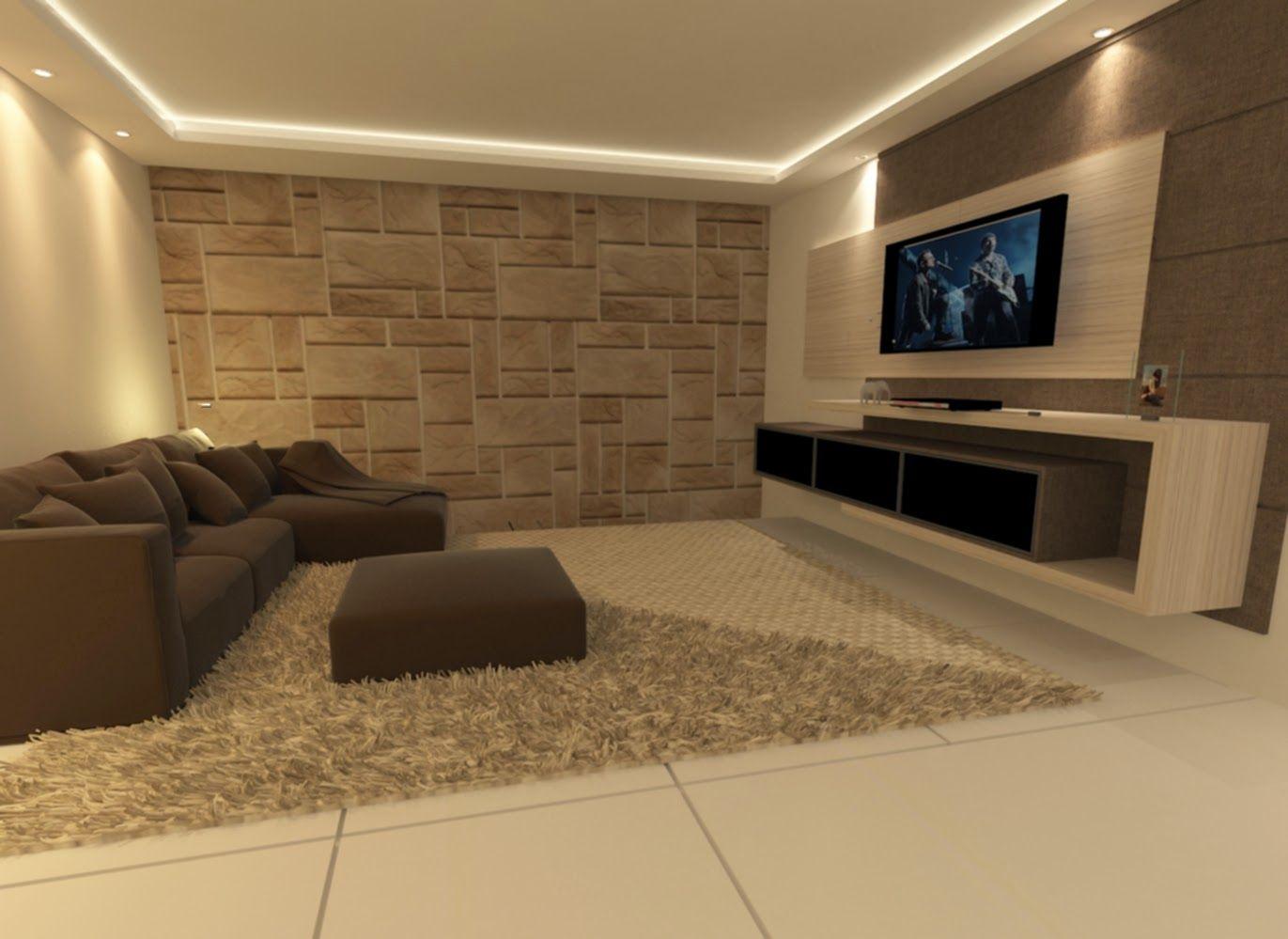 Home Theater Design Tijolinho   Pesquisa Google