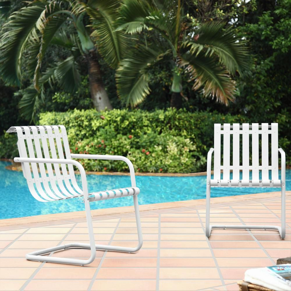 Crosley Gracie White Metal Outdoor Chair Set Of 2 Co1020 Wh The Home Depot Stainless Steel Chair Metal Outdoor Chairs Outdoor Armchair