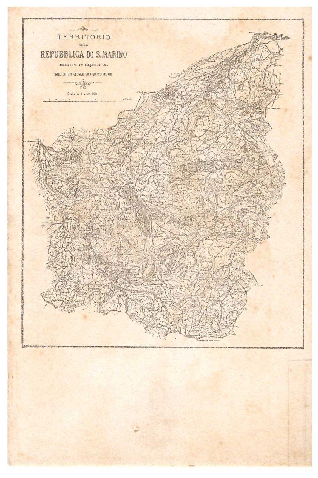 San Marino Map postcard from 1927 Amarcord San Maroin Vintage