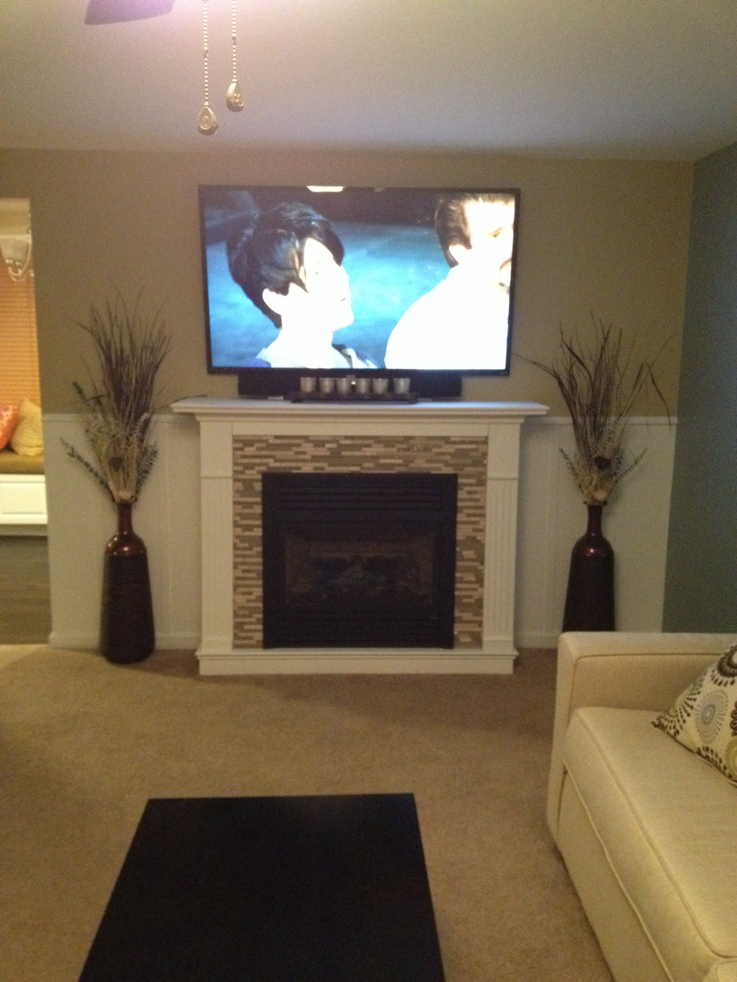 Diy Fireplace Ventless Gas Fireplace And Wall Moldings To Match Family Room Makeover New Homes Fireplace Surrounds