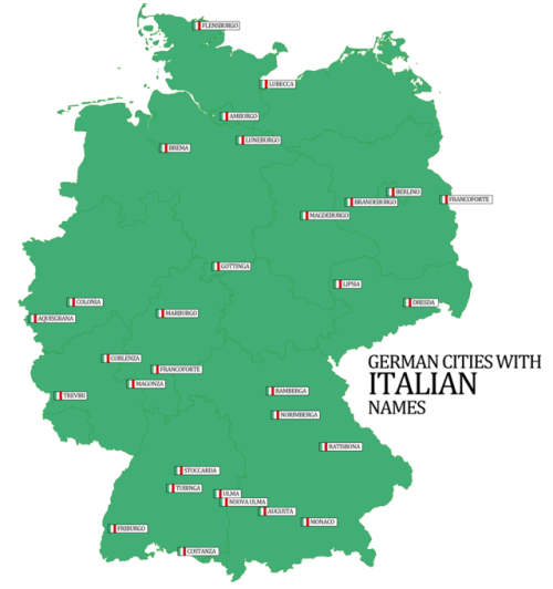 Map Of Germany And Italy With Cities.German Cities With Italian Names Scriere Cartographie Allemand