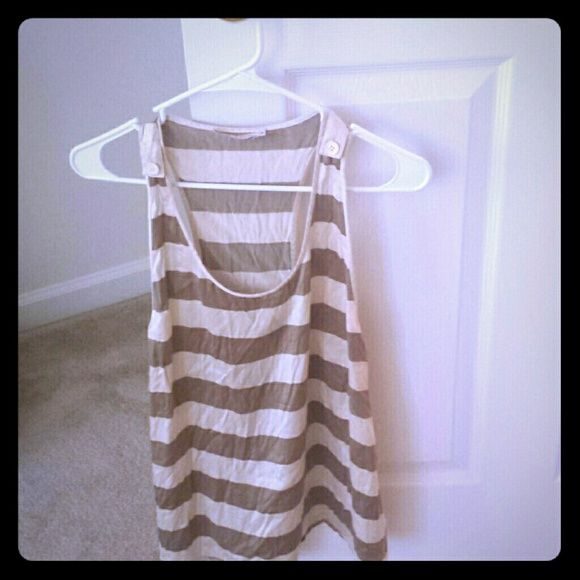 Striped cream and tan tank top Striped cream and tan tank top with button detail on the straps. 7 for all Mankind Tops Tank Tops