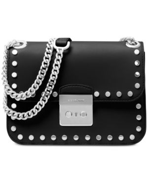 e3d0d2ebef0b Michael Michael Kors Sloan Editor Medium Chain Shoulder Bag - Black Studded  Purse, Studded Leather