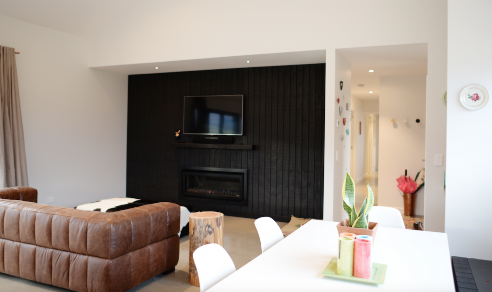 Black feature wall living room design open plan living for Feature wall ideas living room tv