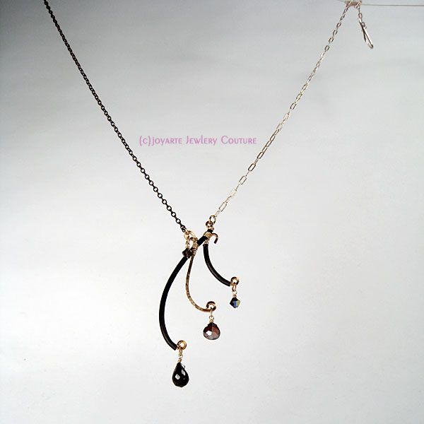 Freya Mezza Necklace with spinel, garnet, Swarovski crystal, rubber, handforged bronze, Sterling Silver and 14k Gold Fill. Also comes in earrings!