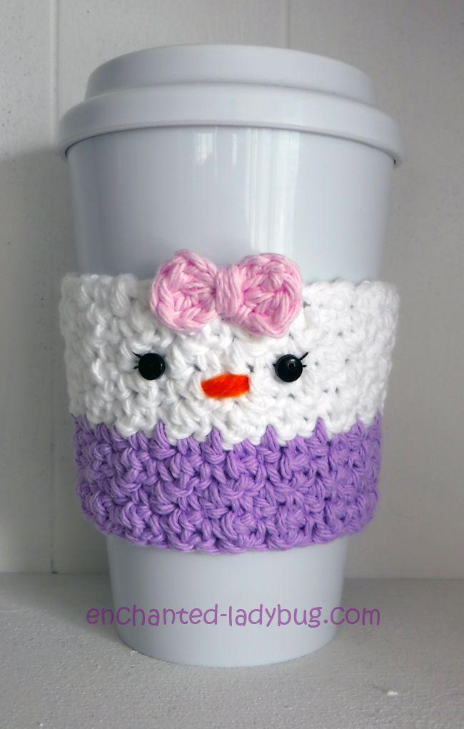 Free Crochet Daisy Duck Coffee Cup Cozy Pattern. Free PDF crochet ...