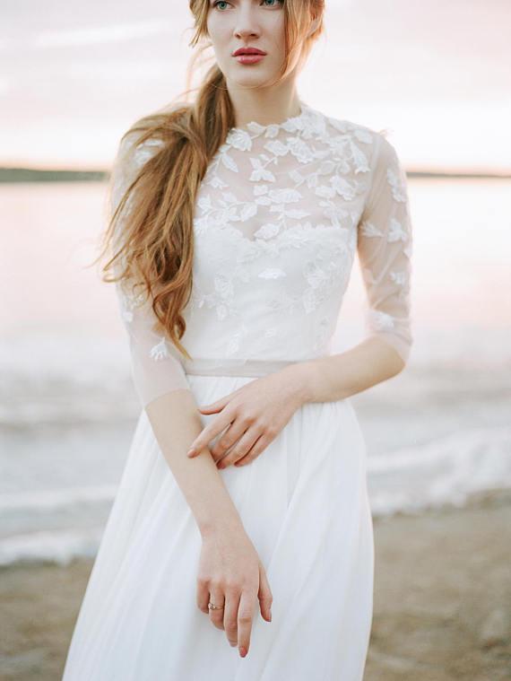 Corset wedding dress with bolero, chiffon wedding dress, floral ...