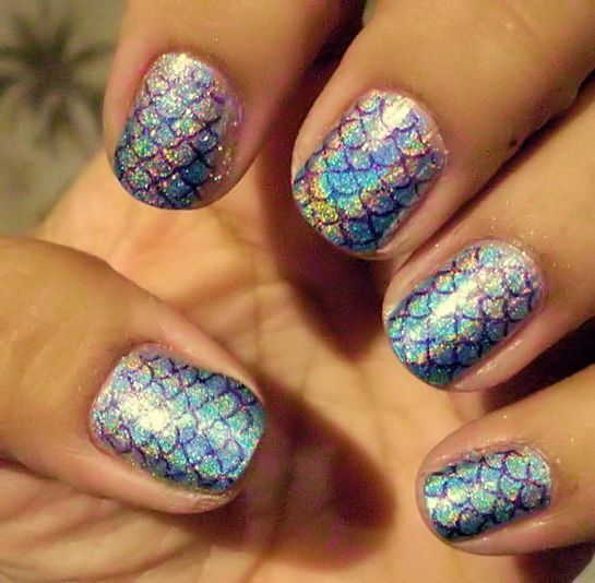 Mermaid Nails Using Color Club Holographic Polishes And Nails