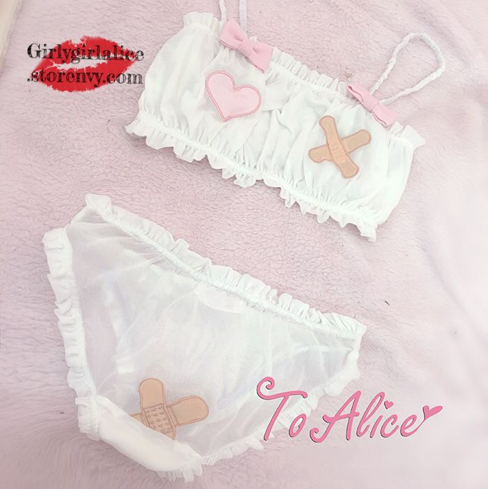 Girly Girl Boutique Bra Set on Girly Girl の To Alice.Girly Cute Band-Aid Heart Bra Set Kawaii Underwear Suit get yourself ready to look cute .