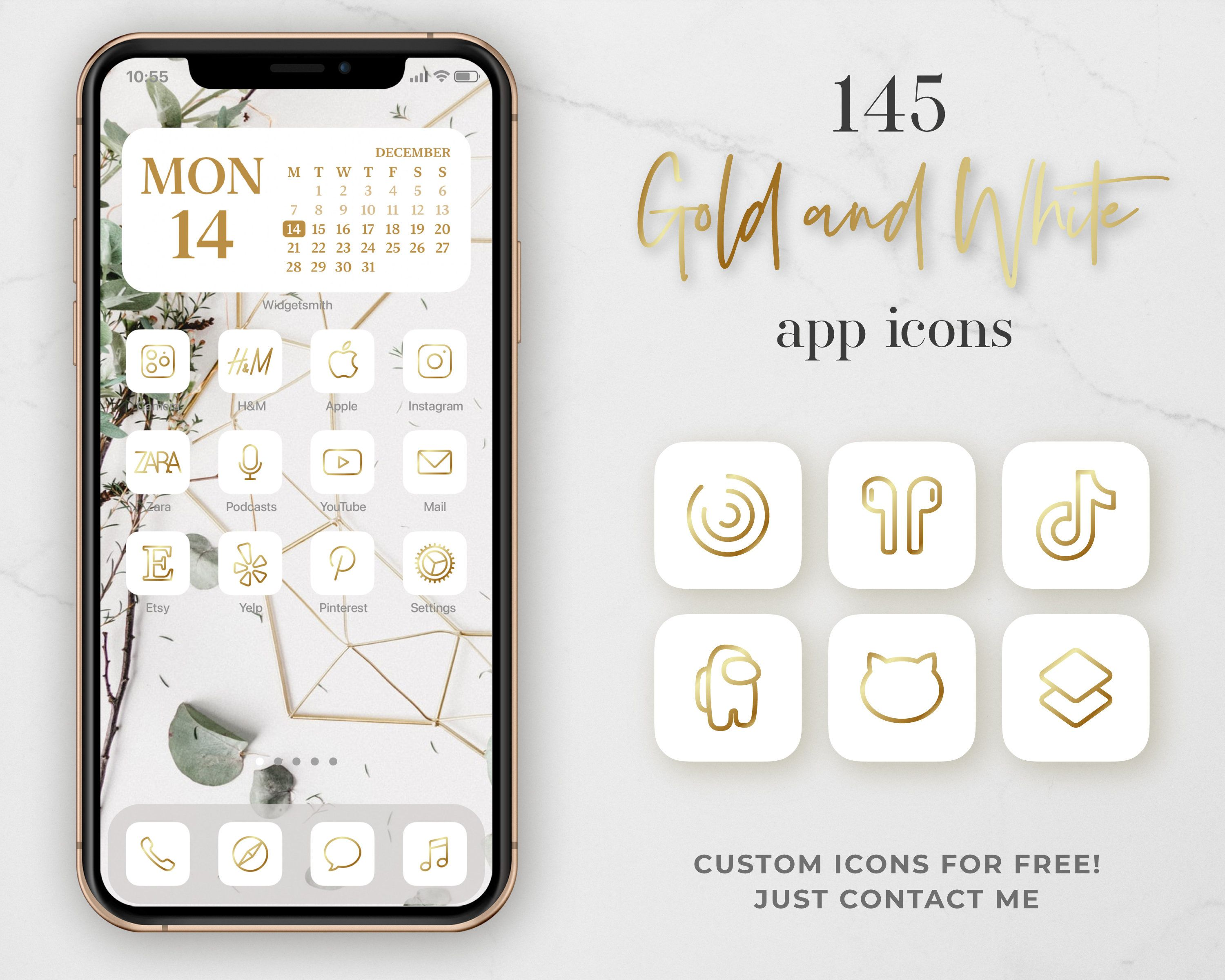 Gold App Covers   21 Golden App Icons for IOS 21   IOS 21 Icons ...