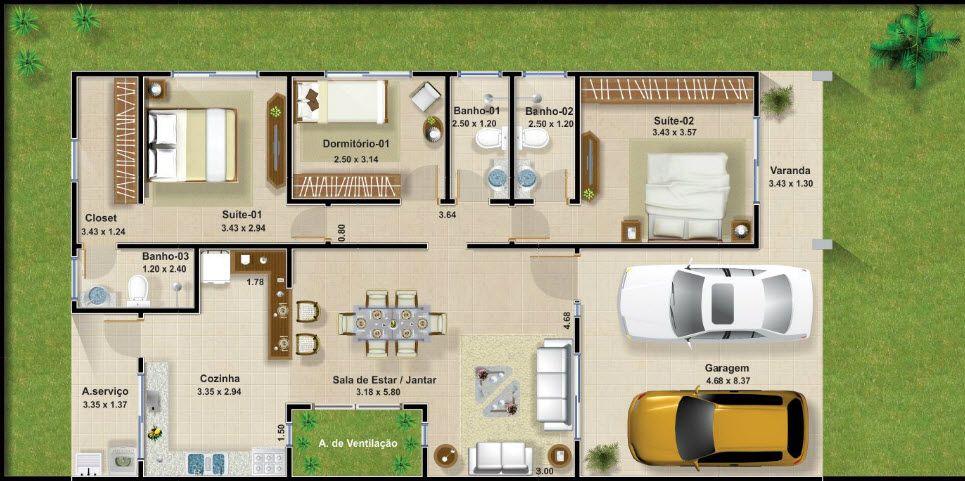 Casas de un piso y tres dormitorios planos y fachadas de for Medidas de una alberca pequena