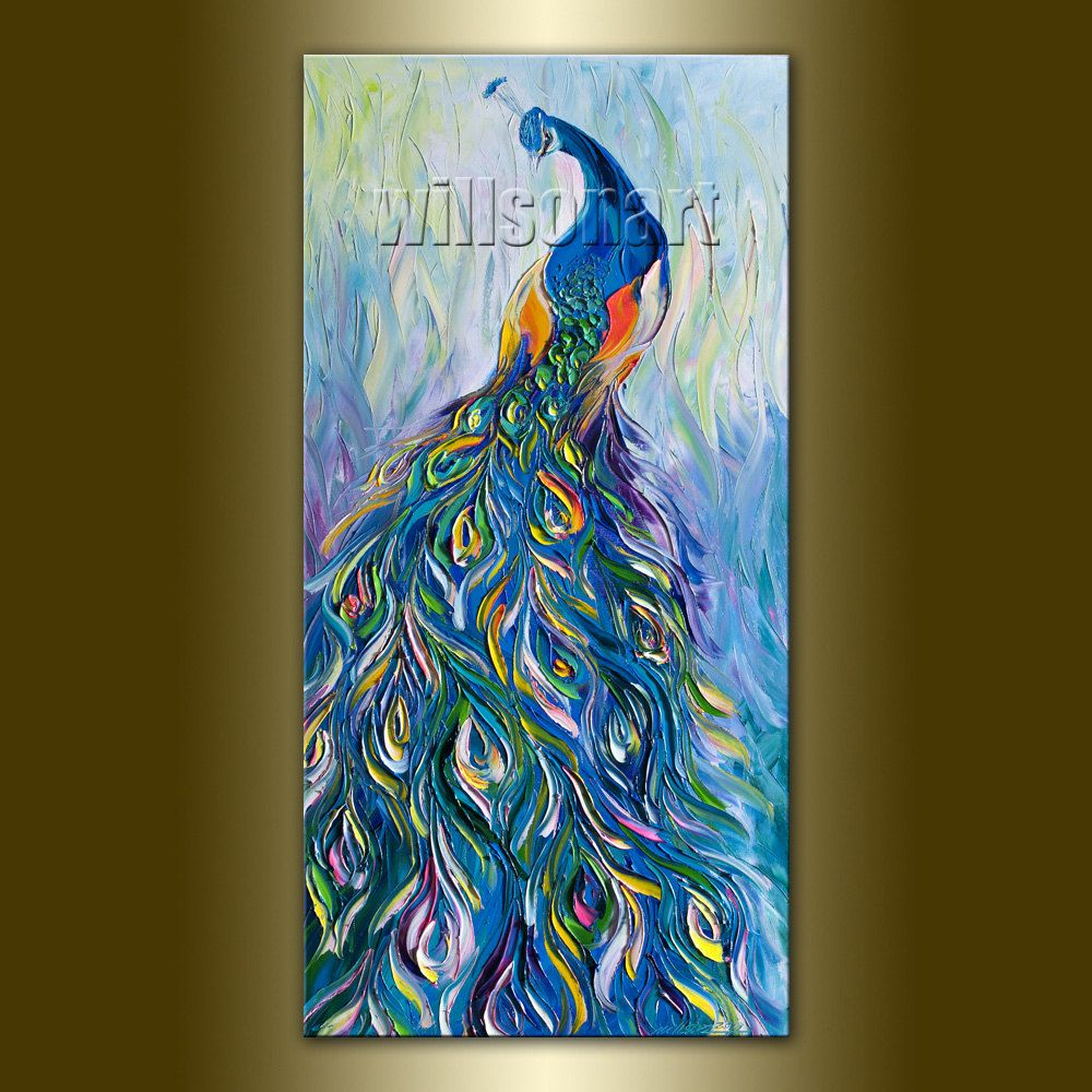 Original Peacock Oil Painting Textured Palette Knife Contemporary Modern  Animal Art 18X36 by Willson Lau