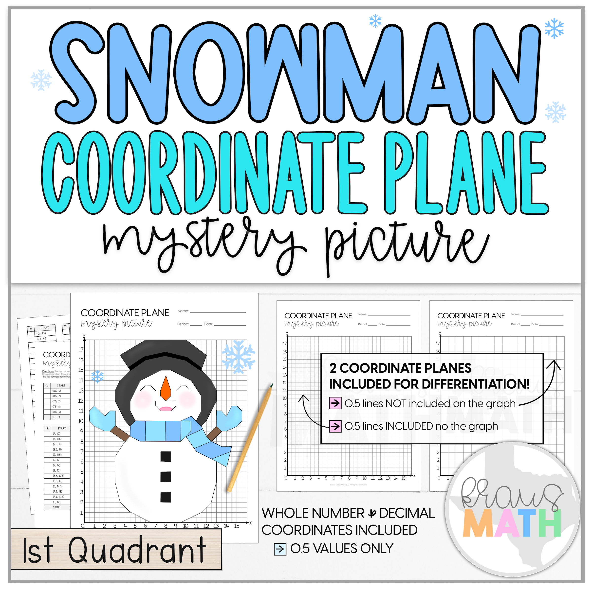 Snowman Let It Snow Coordinate Plane Mystery Picture 1st